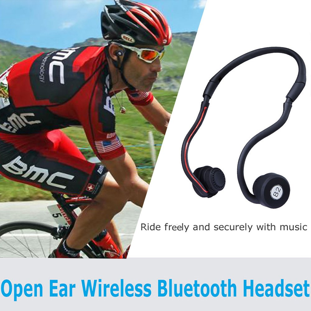 Open Ear Wireless Bone Conduction Headphones Liwithpro Bluetooth Folding Sweatproof Earphones Sports Headset with Microphone and Volume Control for Cycling Running Gym Black