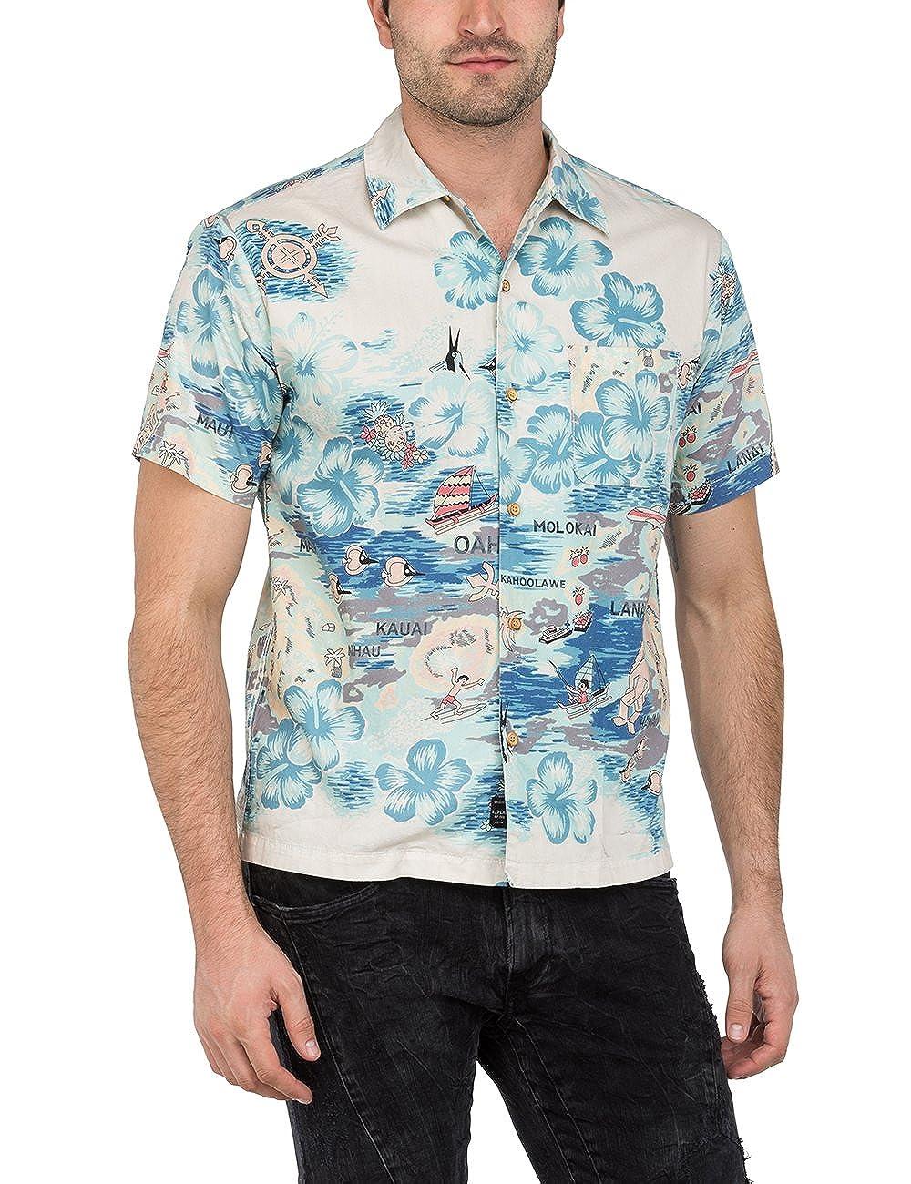 [リプレイ] ハワイアンプリントシャツ メンズ M4985 .000.71448 B07B54JPZ9  ハワイアンプリント EU S (日本サイズS相当)