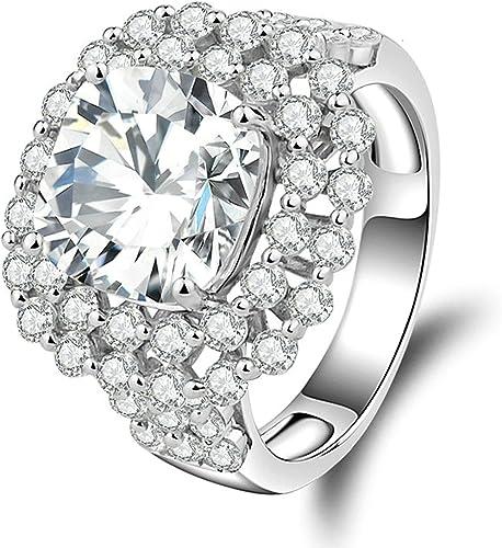Daesar Sterling Silver Rings Wedding Bands for Women Heart White Size 5