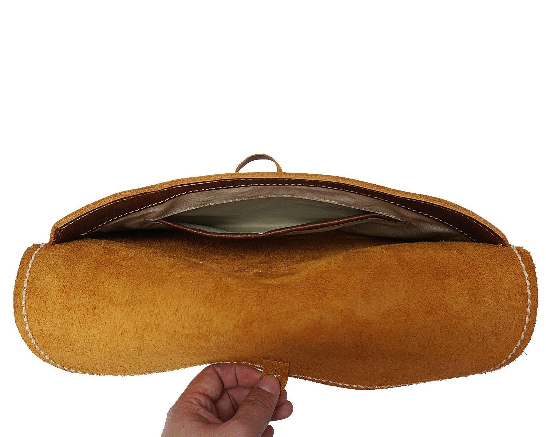 Size MUMUWU Mens Clutch Bag Handmade Leather Retro Slim Folder Header Layer Leather Messenger Bag Brown S