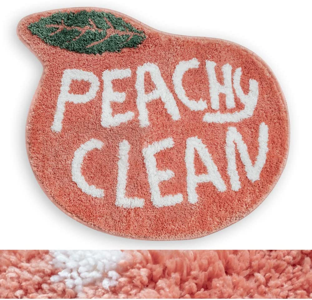 RORA Bath Rug for Kids Coral Pink Peach Shape with White Words Cartoon Plush Water Absorbent Bathroom Decor Mat Bathtub Bathroom Doormats for Children's Room Non Slip Washable Toilet Rug(25.2