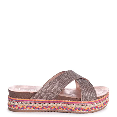 9883db798b6 Linzi Angel - Rose Gold Slip On Espadrille Flatform Slider with Glitter  Pattern Crossover Front Strap  Amazon.co.uk  Shoes   Bags