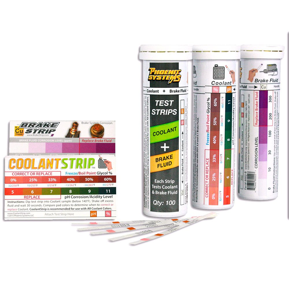 Phoenix Systems 8003-B Double-Ended Test Strip for Coolant + Brake Fluid (100 Test Strips and 100 Rating Scale Cards) by Phoenix Systems (Image #1)