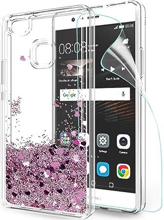 LeYi Custodia Huawei P9 Lite Glitter Cover con HD Pellicola,Brillantini Trasparente Silicone Gel Liquido Sabbie Mobili Bumper TPU Case per Custodie ...