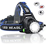 HeQiao LED Headlight 5000 Lumen Camping Headlamps Adjustable Strap Headlight Flashlight Rechargeable LED Work Light for Outdoor Sports (3-Mode, Light-weight, Anti-Sweat) (Bright Blue)
