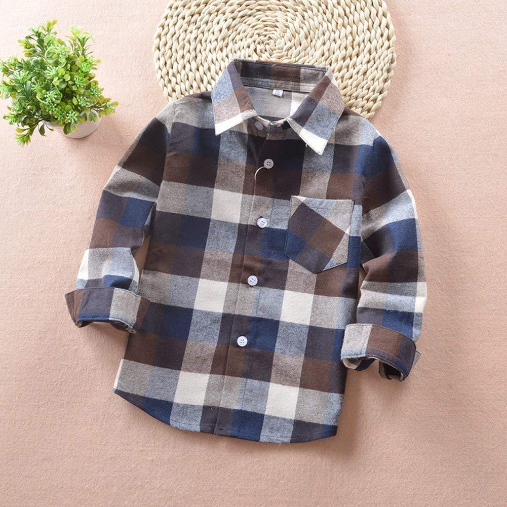 Brown 5-6 Years CM C/&M WODRO Kids Little Boys Girls Baby Long Sleeve Button Down Red Plaid Flannel Shirt Plaid Girl Boy NB-6T