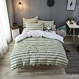 Merryfeel Seersucker Duvet Cover Set Queen Size,100% Cotton Seersucker Stripe Duvet Cover Set,3 Pieces Bedding Set- Full/Quee