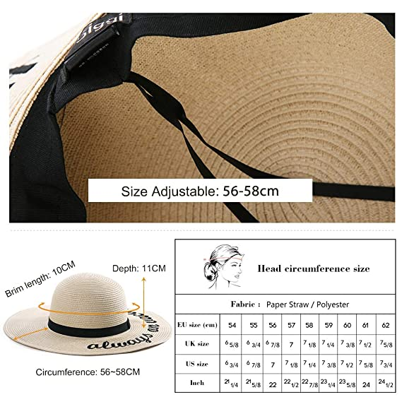 f4d268193 Jeff & Aimy Womens Floppy Beach Straw Sun Hat Wide Brim Embroidered  Packable 56-58CM