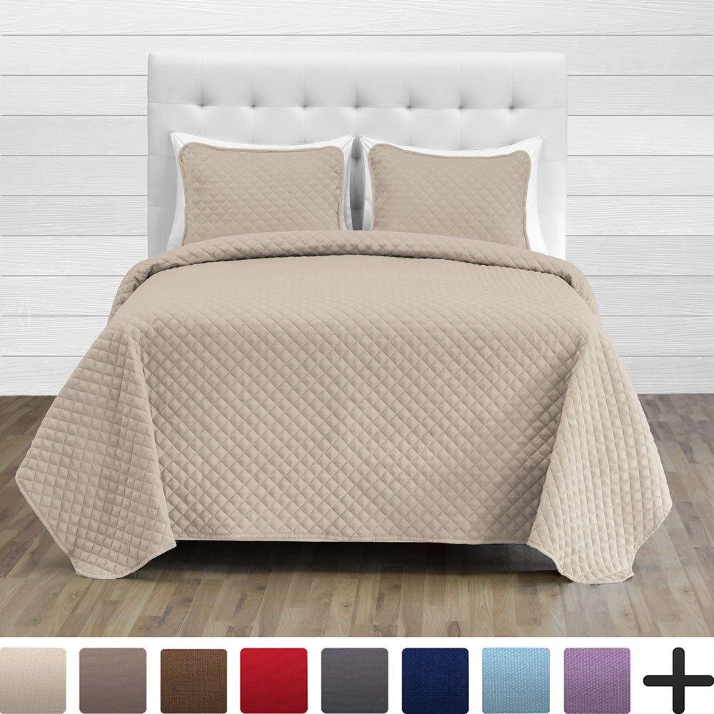 Bare Home Premium Diamond Stitched 2 Piece Coverlet Set - Ultra-Soft Luxurious Lightweight All Season Bedspread (Twin/Twin XL, Sand)