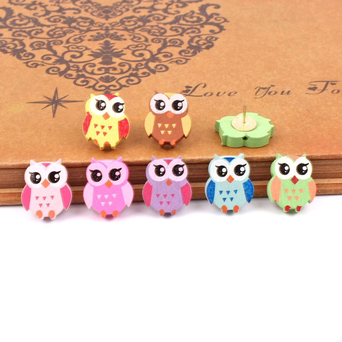 Yalis 12 Pcs Owl Push Pins,Creative Pushpins/Thumbtacks Decorative for School Home and Office, Assorted Colors
