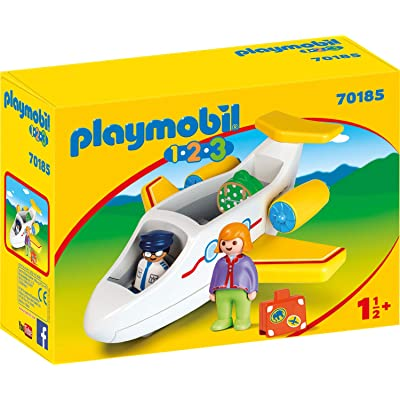 PLAYMOBIL 70185 1.2.3 Plane with Passenger for Children 18 Months+: Toys & Games