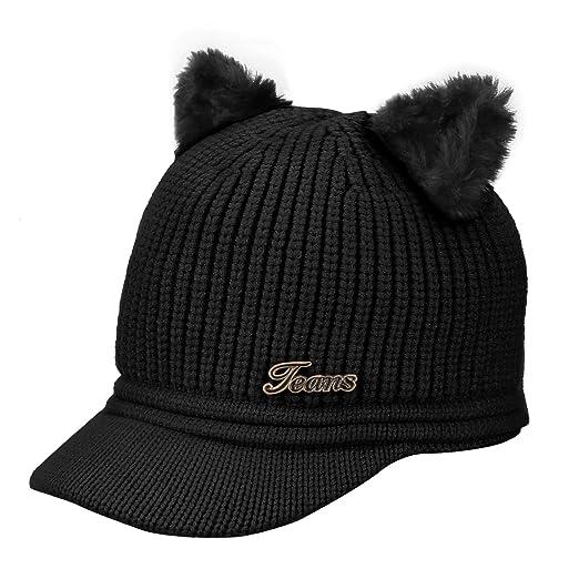 32cac7edcf3 Amazon.com  Baby Winter Hat - Baby Knit Hat Cute Cat Brim Knit Hat ...