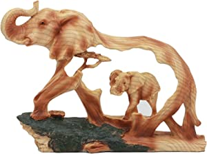 "Ebros Elephant and Baby Walking in The Jungle Statue 9"" Long Faux Wood Resin Wildlife Safari Elephant Family Scene Figurine"