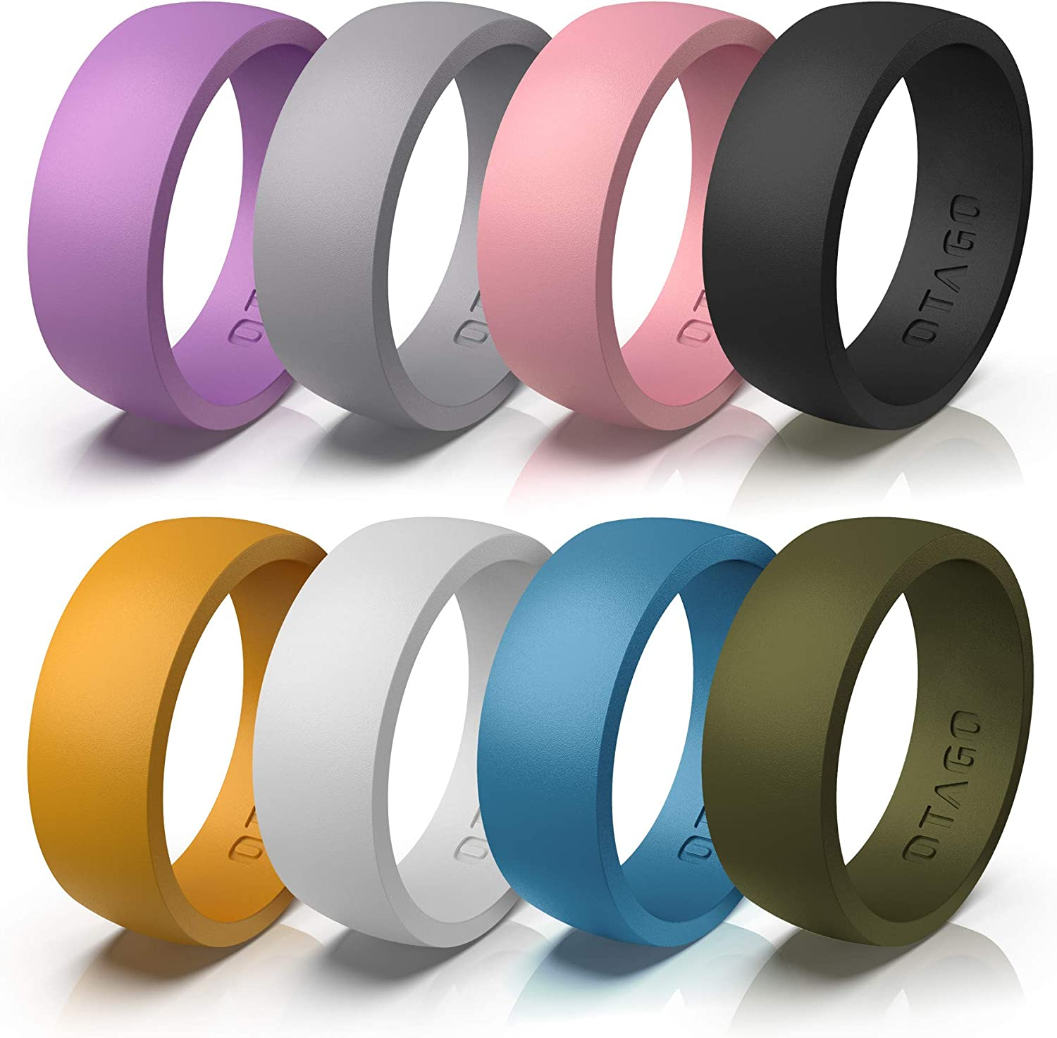OTAGO Silicone Rings Wedding Bands for Women Men,8 Packs Colorful Rings Soft and Safe for Sports,Housework,Comfortable Fit,Fashion Style-Metal and Vivid Matte Colours Size5-12
