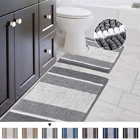Amazon Com H Versailtex Bath Rug Set 2 Piece For Bathroom Non Slip Thick Chenille Bath Rugs Contour And Rectangle Water Absorbent Microfiber Striped Pattern Shag Mats 20 X 32 Plus 20 X 20