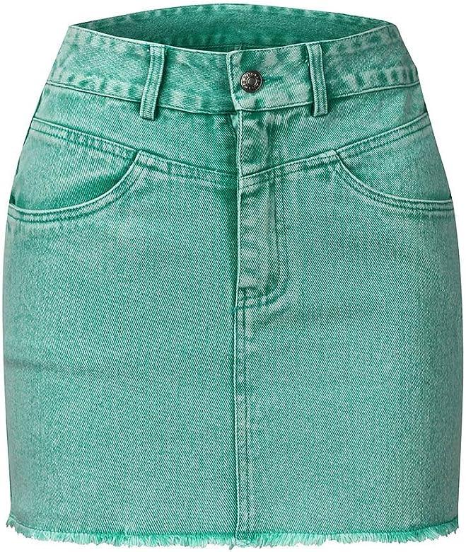 Faldas Vaqueras Botones Mujer Verde Elegante Vintage/💖QIjinlook ...