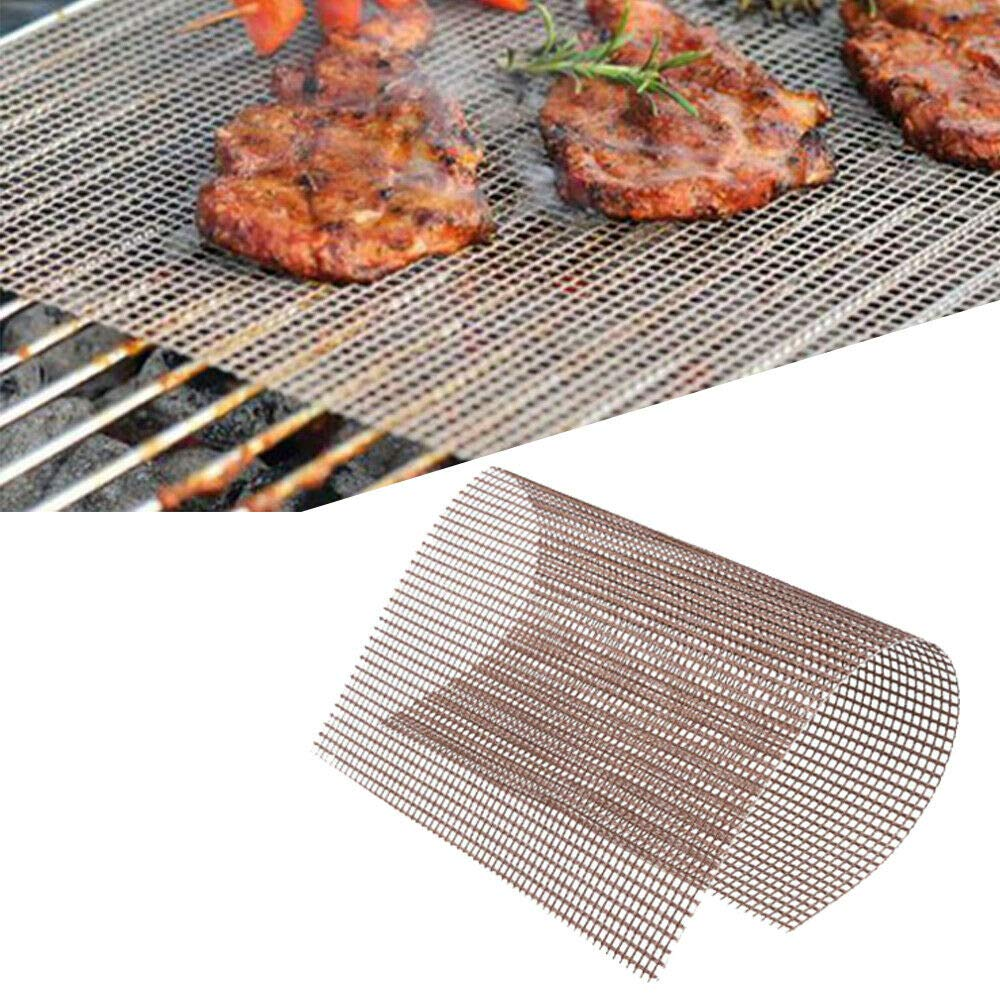 FF Era BBQ Copper Grill Mesh Mat-Set of 5 Non-Stick Heavy Duty 13x15.75 Inch BBQ Grill Mesh Mat-Easy to Clean PTFE Coated Fiberglass Silicone Free FDA Approved-Suitable for Grills and Ovens (Brown) by FF Era