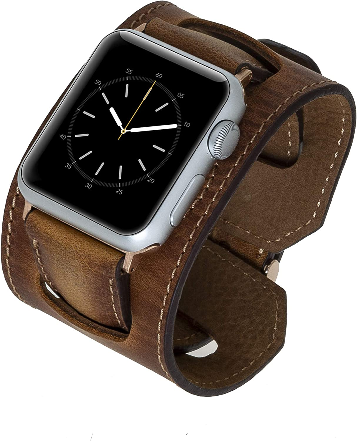 Venito Ancona Cuff Leather Watch Band Compatible with Apple Watch iwatch Series 1,2,3,4,5,6, and SE (Antique Brown w/Rose Gold Connector&Clasp, 42mm-44mm)