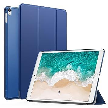 MoKo Funda iPad Pro 12.9 2017 - Ultra Slim Función de Soporte Protectora Plegable Trasera Transparente Durable con Auto Estela/Sueño, Azul Marino