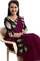 Rajeshwar Fashion Women's Cotton Saree With Blouse Piece (Orange)