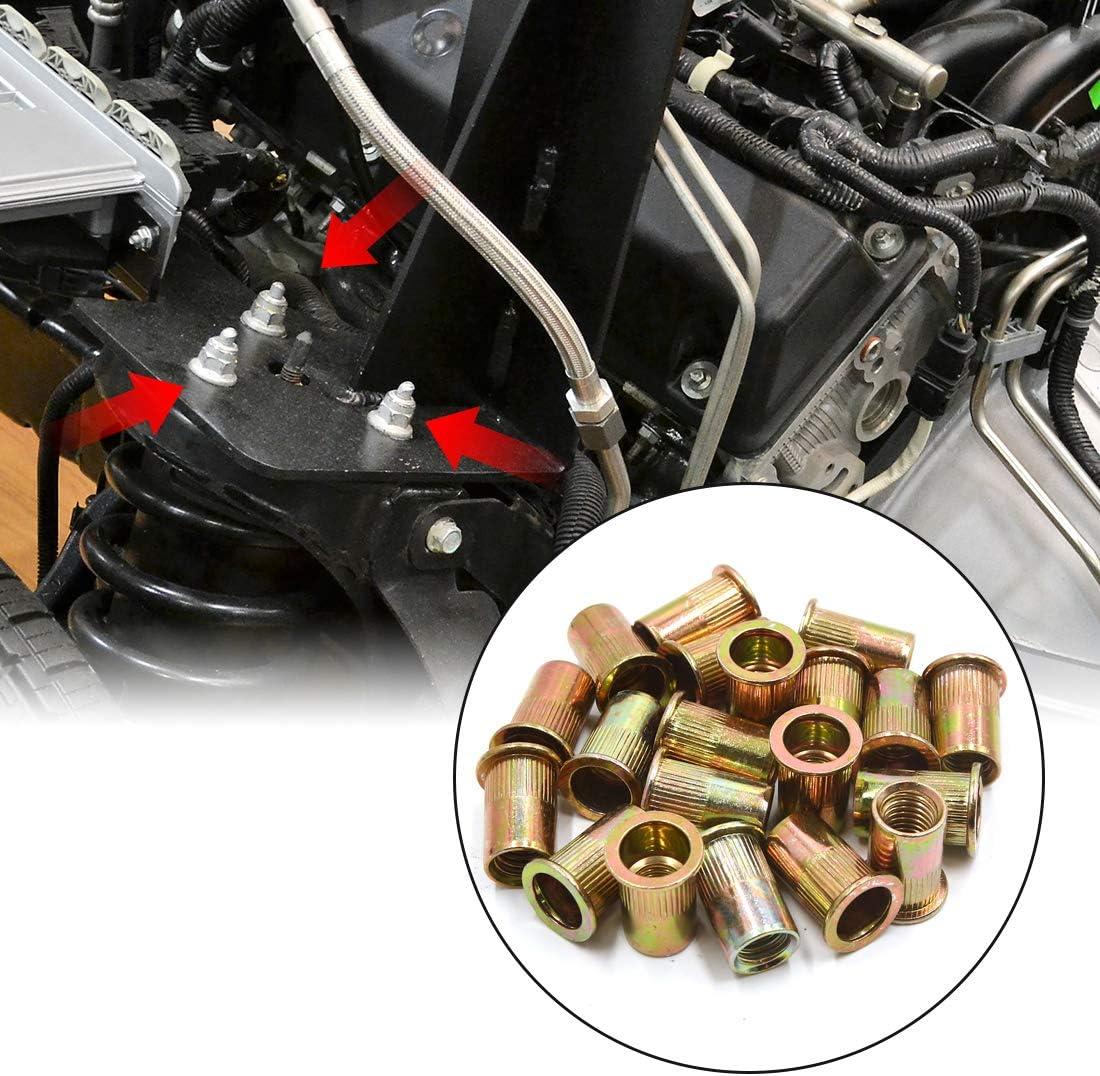 uxcell 20Pcs 1//2-13 UNC Car Flat Head Rivet Nut Insert Bronze Tone