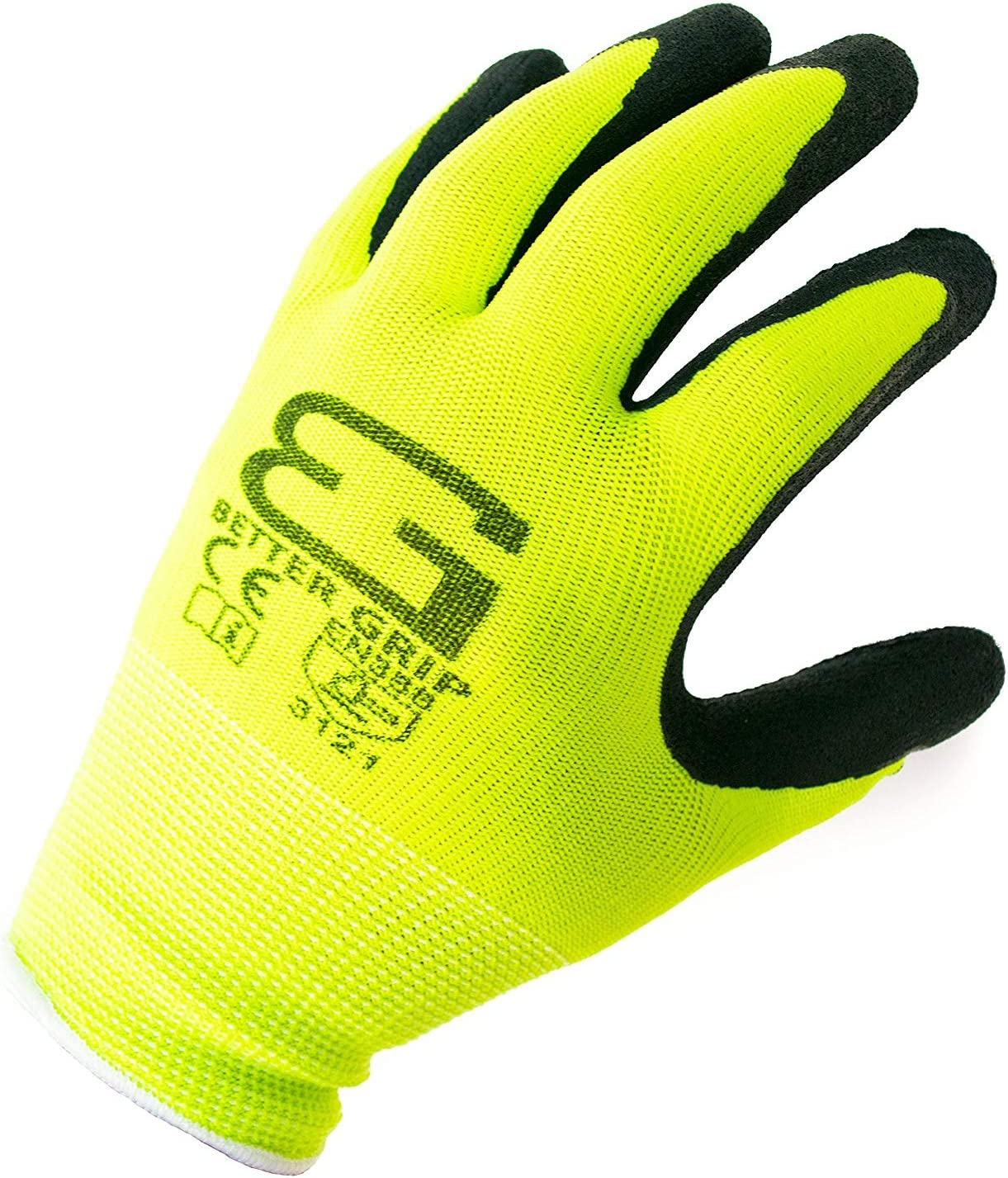 Better Grip Ultra-Thin BGSL1 Nylon Sandy Latex Coated Work Gloves, 4 Pairs/Pack (Extra Large, Lime)