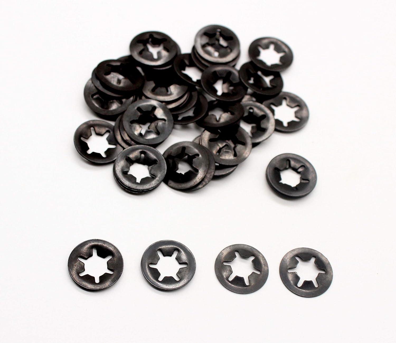 60pcs M8 Internal Tooth Starlock Push on Locking Washers Metal Starlock Push-on Locking Washer Fastener KINPAR