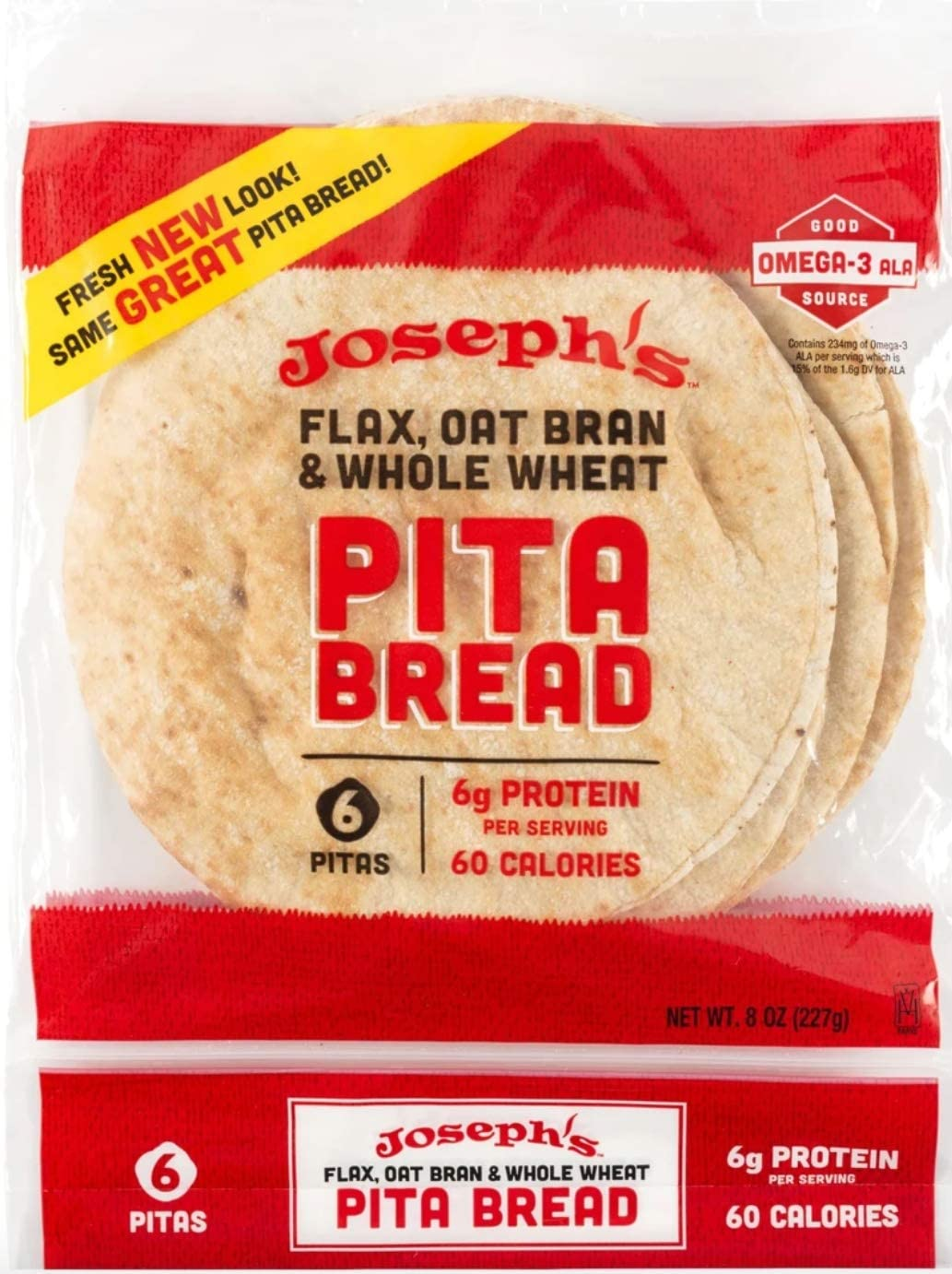 Joseph S Reduced Carb Flax Oat Bran Whole Wheat Pita Bread 6 Loaves Low Fat Low Calories Amazon Co Uk Grocery