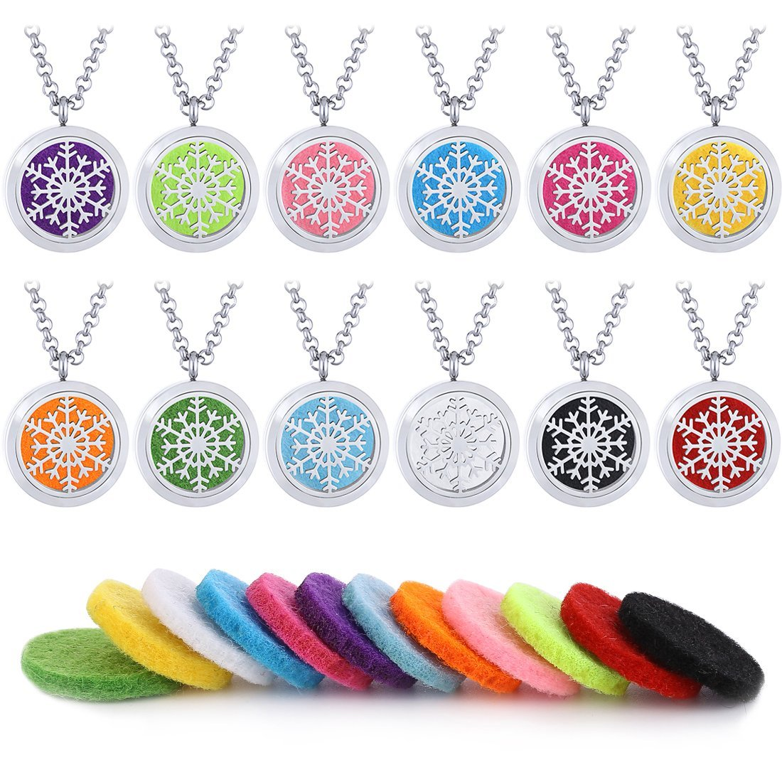 Mecoo 316L Stainless Steel Snowflake Necklace Aromatherapy Essential Oil Diffuser Pendant 12 Colorful Felt Pads by ME COO