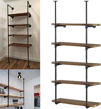 2PCS 3-Tiers Wall Mount Storage Iron Shelf Shelving Bookshelf Home Decor