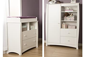 Beehive Changing Table With Removable Changing Station And Armoire With Drawers Pure White