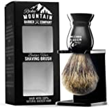 Shaving Brush - Pure 100% Best Badger Hair Barber Grade with Black Heavy Duty All-Resin Handle and Oversized Bristle Head For