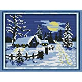 Cross Stitch Kits, Sun Snow Christmas Awesocrafts Easy Patterns Cross Stitching Embroidery Kit Supplies Christmas Gifts, Stam
