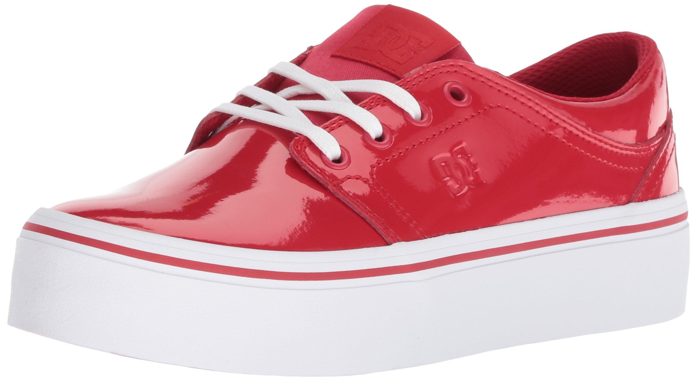 DC Women's Trase Platform SE Skate Shoe, Red, 8.5 B B US