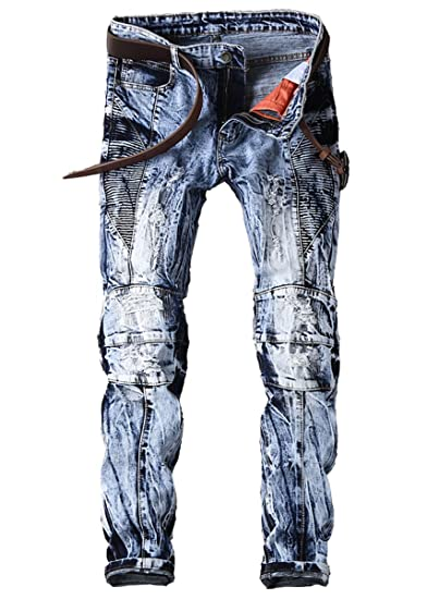 6f990656 Men's Acid Wash Straight Fit Ripped Panelled Biker Jeans Blue at Amazon  Men's Clothing store: