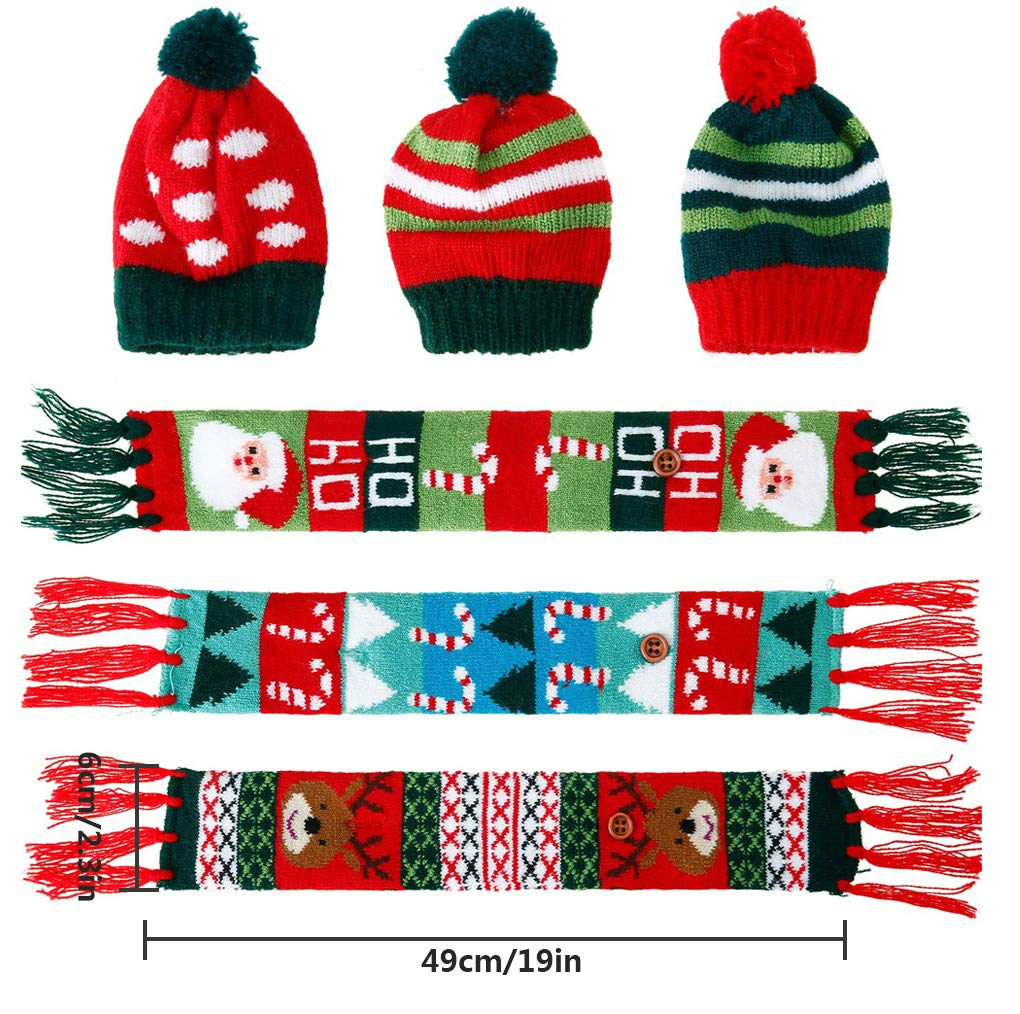 3PCS Christmas Wine Bottle Cover Set for Christmas Party Table Decorations Santa Claus Hats /& Scarfs Xmas GIF