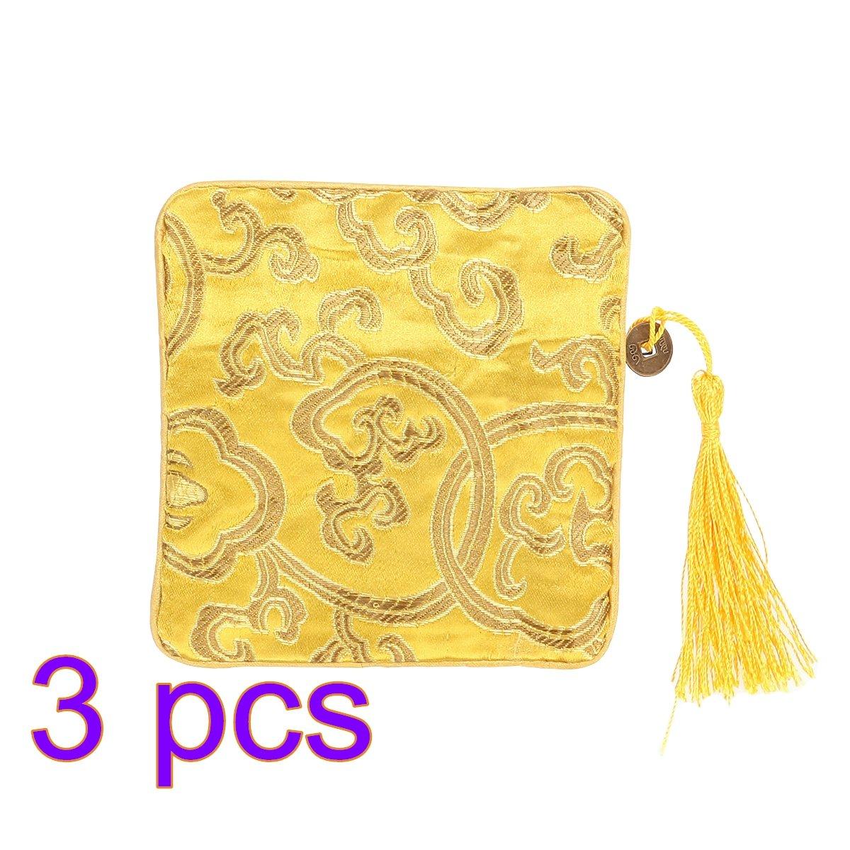 OULII Sac en trousse chinoise en soie Sac à monnaie Brocade brodé Tassel Zipper Wallet Ensemble de 3 (jaune vif) L183321MLBGK5476