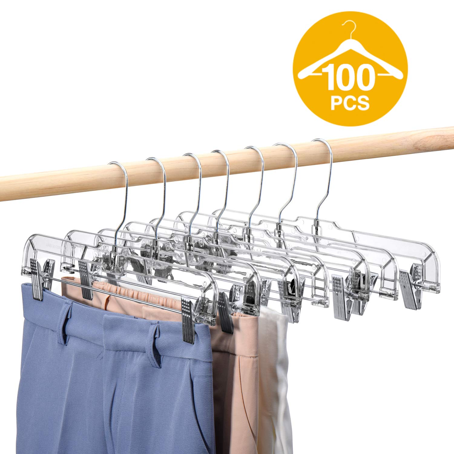 HOUSE DAY 100 Pack 14 inch Clear Plastic Skirt Hangers with Clips, Skirt Hangers, Clip Hangers for Pants,Trouser Bulk Plastic Pants Hangers by HOUSE DAY (Image #1)