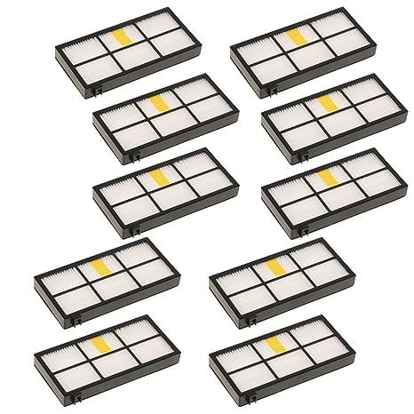 Sharplace 10 Pieza Filtro de Aspiradora Accesorios Parte Respuesto Duraduro para iRobot Roomba 870/800