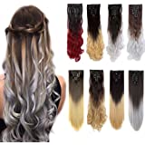Clip in Hair Extensions Ombre Dip Dye Color Synthetic Full Head Hairpiece 2 Tone Japanese Kanekalon Fiber Thick Long Curly Wavy 8pcs 18clips for Women 24'' / 24 inch (Medium Brown to Silver Grey)