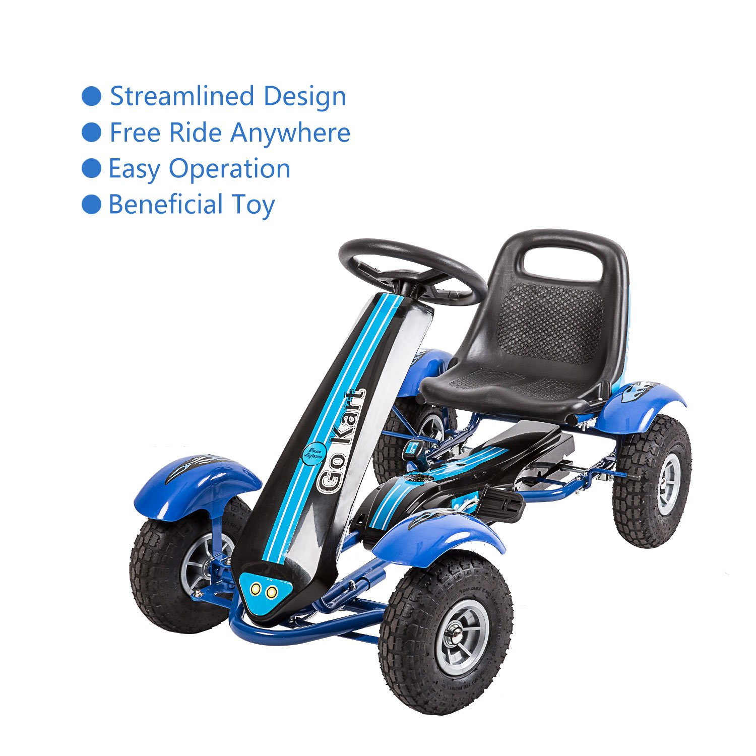 Amazon.com: Kinbor Go Kart/Pedal Car,Pedal Powered Ride On Toys for Boys &  Girls with Adjustable Seat Blue: Toys & Games