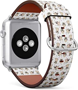 Compatible with Small Apple Watch 38mm & 40mm (All Series) Leather Watch Wrist Band Strap Bracelet with Stainless Steel Clasp and Adapters (Pugs)