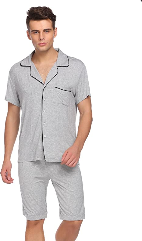 Thadensama Men Pajama Set Nightwear Short Sleeve Tops with Elastic Waist Shorts Pajamas Sets Casual Loose Sleepwear Suit Male Cloth Blue XXL