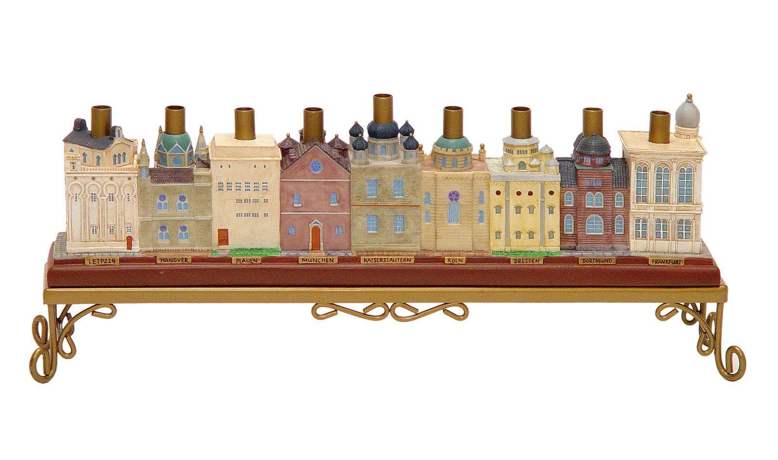 Hanukkah Menorah Collectors Unique Hanukkia ''The Lost Synagogues of Europe'' . Jewish Art. Great Gift For; Shabbat Chanoka Rabbi Temple Wedding Baby Naming Housewarming Bar Mitzvah Bat Mitzva and Jewish Homes.