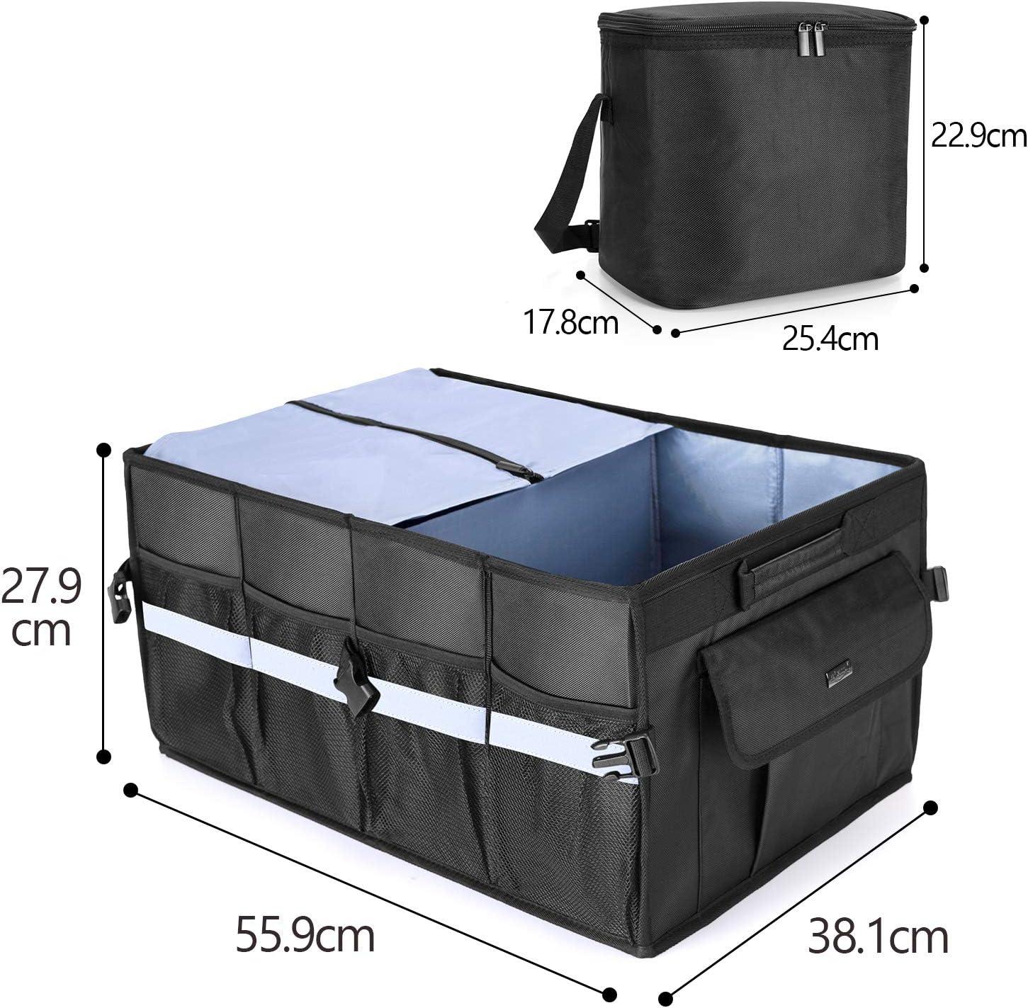 Luxja Kofferraum Organizer Faltbare Auto Kofferraumstasche Mit Zusätzlicher Kühltasche Organizer Klappbox Für Suv Lkw Auto Schwarz Auto