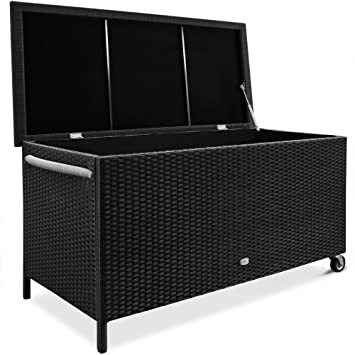 Waterproof Rattan Garden Storage Box Foldable Aluminium Cushion Chest Hub With Lining Black Patio Deck Container With Casters