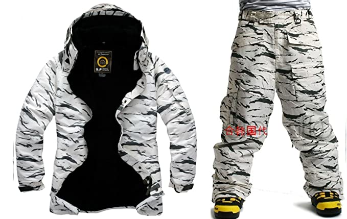 3e6cf04be4 Southplay Men s Waterproof Ski-Snowboard Military Jacket + Pants Set White  Camo (Small)