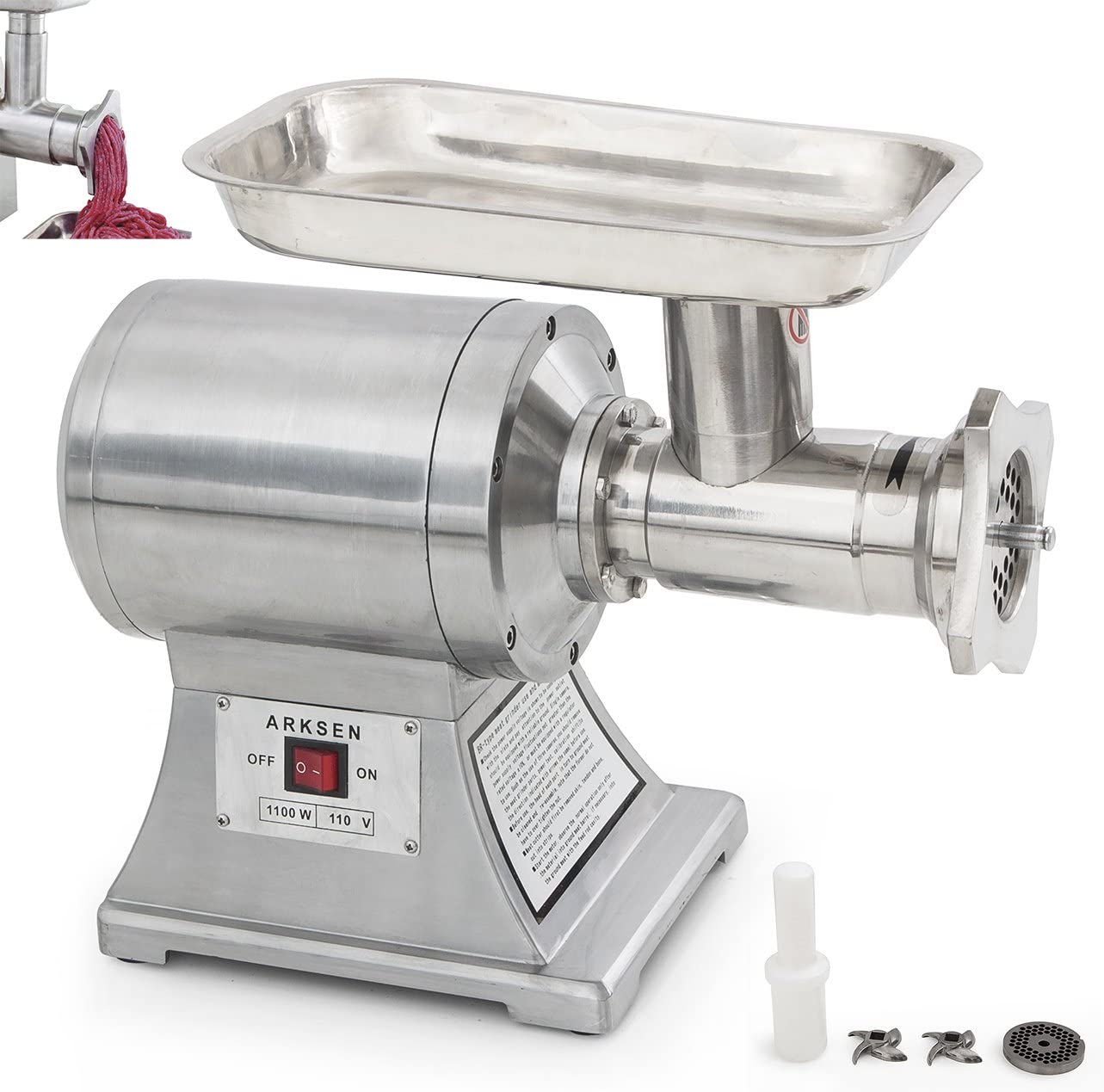 Best Commercial Meat Grinder ARKSEN 1100W Commercial Style #22 Industrial Electric Meat Grinder