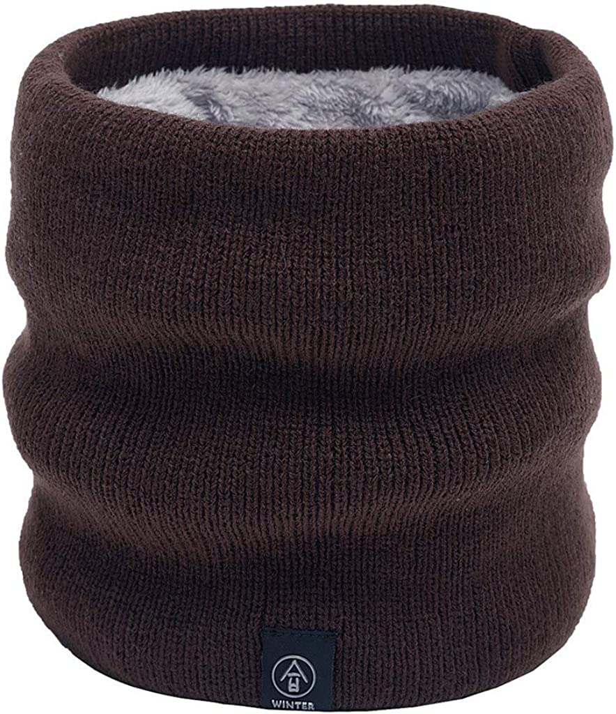 Smoxx Womens Men Thick Winter Knitted Infinity Circle Loop Scarf,Solid Snood Neck Warmer Fleece Scarves Shawl Cowl