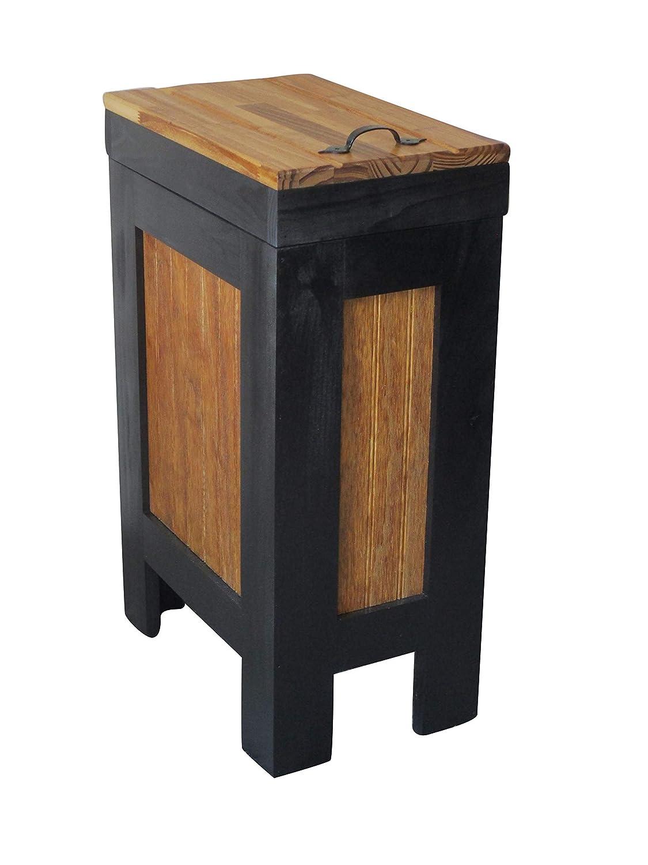 Rustic Wood Trash Bin, Kitchen Trash Can, Wood Trash Can, Dog food storage, 13 Gallon, Recycle Bin, Black & Golden Oak Stain with Metal Handle